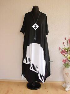 Moonshine Fashion° Lagenlook Überwurf Kleid Vokuhila Lang ~ Schwarz ~ 1 / 2 / 3