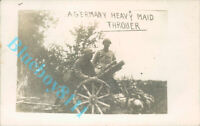 WW1 German Heavy Mortar Captured By The French  Real photo unposted