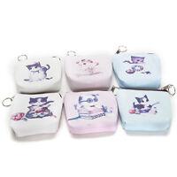 1Pcs Cat Face Zipper Case Mini Pocket Coin Purse Cartoon Key Wallet Bag Pouch VG