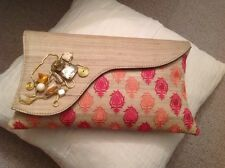 Clutch Bag - silk and rhinestone detailing