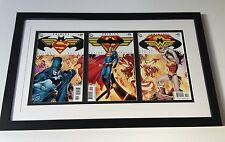 Set Of 3 Connecting Trinity Comic Covers. Framed And Preserved. Batman Superman