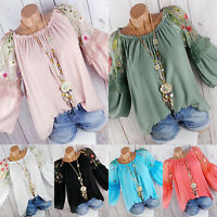 Women Embroidered Lace Bell Sleeve Blouse Ladies Loose T Shirt Tops Plus Size