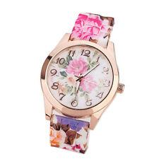 Women Girls Wrist Watch Silicone Band Printed Causal Flower Quartz Wrist Watches