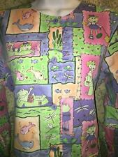 PEACHES 6183 scrubs jacket dental medical nurse frogs pond fish XS button front