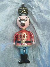 "Vintage De Carlini 7"" Nutcracker Soldier Italy Blown Glass Christmas Ornament"