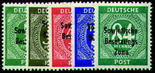 SBZ Nr. 207-211 postfrisch ** Ziffern mit Aufdruck 1948