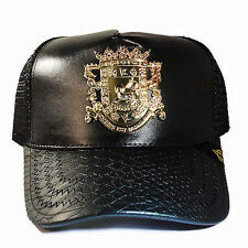 Puerto Rico Trucker Snapback Hat Black Artificial Leather Gold badge Cap