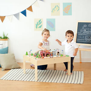 Teamson Kids Hölzernes Zugset & Spieltisch & Bahn (85 Stück) (Brio Comp)