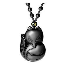 Mens Women Natural Obsidian Carved Black Fox Amulet Pendant Adjust Necklace Rope