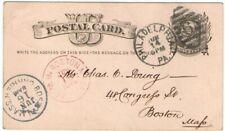 1879 UX5 Philadelphia PA Duplex 6 Postal Card - Boston MA Carrier Red Rec'd in B