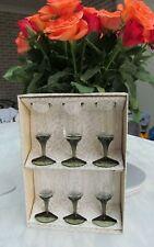 6 Vintage Twisted Green Stem Wine / Liqueur Glasses in Original Box