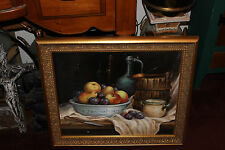 Stunning Hanna Styczynska Still Life Oil Painting-Fruit Bowl Bottle-Gilded Frame
