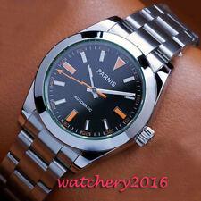 Luxus 40mm PARNIS Schwarz dial Edelstahl Automatisch movement Uhr men's Watch