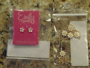 FINE JEWELRY Childrens DAISY Gold Overlay Necklace & Sterling Silver Earrings