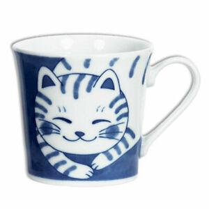 "Japanese Sushi Tea Cup Mug Porcelain 3.5"" H Blue White Tabby Cat, Made in Japan"