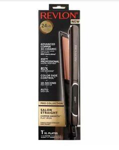 "Revlon Salon Straightener Copper + Ceramic Flat Iron,    1""  XL"