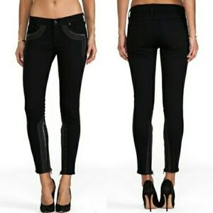 Mother The Looker Inside Zip Black Sheep Princess Boho Embroidered Jeans Skinny