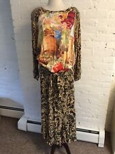 Carole Little VTG 90s Blouson Drop Waist Midi Dress 3/4 Sleev Mix Print Rayon 10