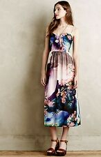 Corey Lynn Dress Floral Bold Floral Strapless Back Zipper Midi 4 NEW 4 $198