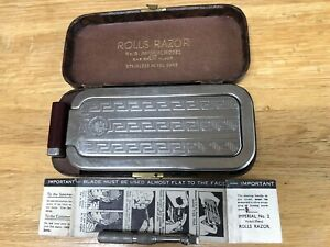 Vintage 1921 Rolls Razor Imperial No 3 Stainless with Case & Spare Blade