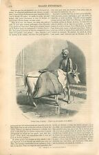 Zébu Vache Boeuf Outre Porteur d'eau à Calcutta Inde GRAVURE ANTIQUE PRINT 1860