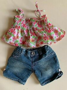 Build-A-Bear Workshop pink strappy top and denim shorts set