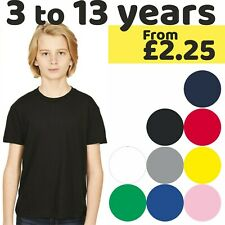 Kids Child Boy Girl Summer T-Shirt Plain Cotton Childrens T-Shirts Kids Crew Tee