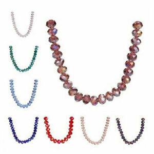 6mm 100pcs Rondelle Faceted Crystal Glass Loose Spacer Beads Jewelry Makings#Q