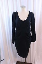 Mama licious Faded Black Ruche Side Long Sleeve Knit Dress Size L Maternity