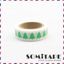 Green Christmas Tree White  Washi Tape, Craft Decorative Tape
