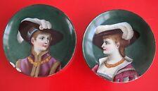 ★★Paire de coupelles en porcelaine peinte à la main Femmes au chapeau à plumes