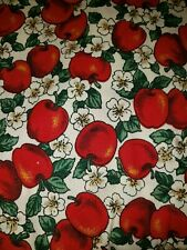 """Vintage Corduroy Fabric Apples! Size 85""""X57"""" large piece sewing crafts Autumn"""