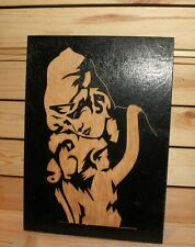 Vintage hand carving wood wall hanging plaque Woman and girl