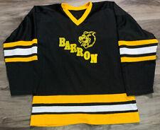 Vintage Barron Golden Bears Wisconsin Hockey Jersey Mens Sz Large Black Yellow