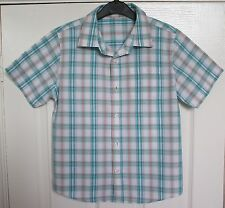 Fab boys short-sleeved check cotton shirt from Marks & Spencer, to fit 9 years