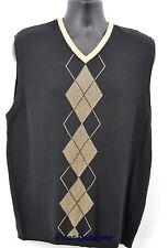 GEOFFREY BEENE Sweater Vest Argyle Golf Sleeveless knit top V neck cotton Mens L