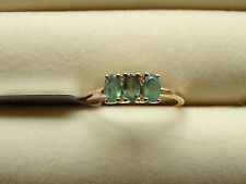 Rare Natural Colour Change Alexandrite Trilogy 10K Y Gold Ring Size L-M/6