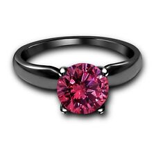 Silver Solitaire Engagement Wedding Ring 7 1Ct Pink Sapphire 10K Black Gold Over
