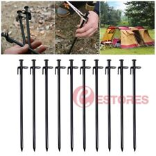 10Pcs 30cm Heavy Duty Steel Metal Tent Canopy Camping Stakes Pegs Ground Nail