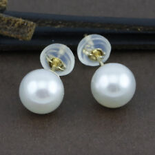 Genuine 18CT Solid Yellow Gold 6.5-7mm Genuine Akoya Pearl Studs - AAA