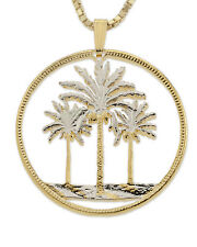 "Palm Trees Pendant & Necklace Iraq Coin Hand Cut 1-1/4"" diameter, ( # 844 )"