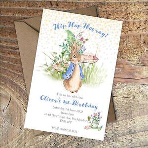 BIRTHDAY INVITATIONS First Birthday, Peter Rabbit, Blue Personalised PK 10