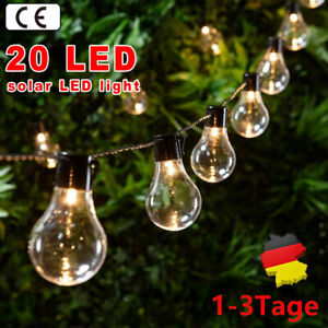 20 LED Solar Lichterkette Glühbirnen Außen Garten String Licht Birnen Party Deko