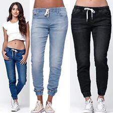 Blusa Feminina elástico na cintura Denim stretch lápis skinny calças Jeans Com Cordão