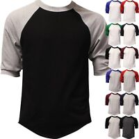 Mens Baseball T Shirt Raglan 3/4 Sleeve Two Tone Tee Jersey Team Sports Solid