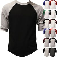 Mens Raglan 3/4 Baseball T Shirt 3/4 Sleeve TwoTone Tee Jersey Team Sport Cotton
