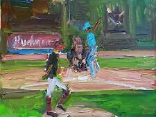 """Cubs-Indians World Series Oil Painting 9"""" x 12"""""""
