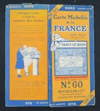 Carte MICHELIN n°60 PARIS LE MANS 1927 map Mapa Bibendum pneu guide