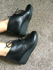 clarks originals Black Leather Wedge Heel Platform Lace Up Ankle Boots UK 5.5 D