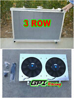 3ROW aluminum RADIATOR & shroud & fan FOR NISSAN SKYLINE S13 CA18 R32 RB20